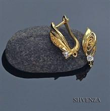 Швензы родиевое покрытие цвет золото английский замок 013-007