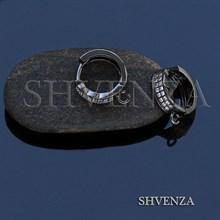 Швензы колечки родиевое покрытие цвет чёрный 016-087