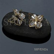 Пуссеты - гвоздики бабочки цвет золото 004-061