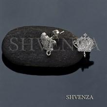 Пуссеты - гвоздики Корона цвет серебро 004-063