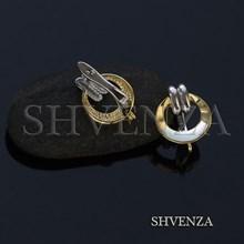 Швензы родиевое покрытие цвет серебро и золото  английский замок 017-098