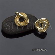 Швензы родиевое покрытие цвет золото английский замок 017-104