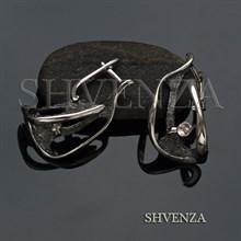 Швензы со штифтом родиевое покрытие цвет серебро английский замок 017-107